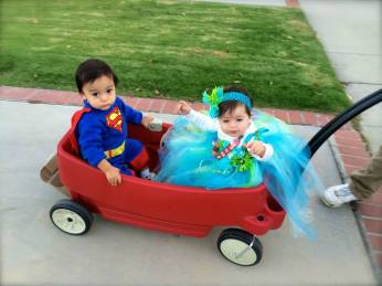 Kaden & Evie trick or treating in style!